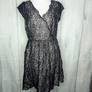 Black Shimmer Lace Overlay Cocktail Dress, size 10